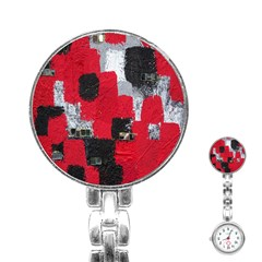 Red Black Gray Background Stainless Steel Nurses Watch by Simbadda
