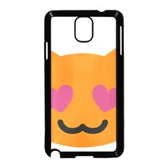 Smile Face Cat Orange Heart Love Emoji Samsung Galaxy Note 3 Neo Hardshell Case (black)