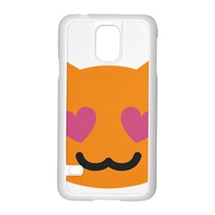 Smile Face Cat Orange Heart Love Emoji Samsung Galaxy S5 Case (white)