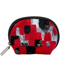 Red Black Gray Background Accessory Pouches (small)  by Simbadda