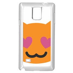 Smile Face Cat Orange Heart Love Emoji Samsung Galaxy Note 4 Case (white) by Alisyart