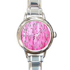 Pink Curtains Background Round Italian Charm Watch