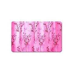 Pink Curtains Background Magnet (name Card) by Simbadda