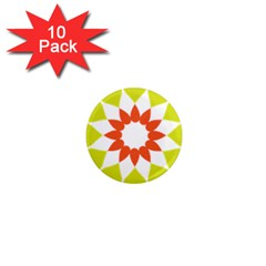 Tikiwiki Abstract Element Flower Star Red Green 1  Mini Magnet (10 Pack)  by Alisyart