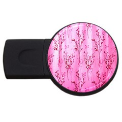 Pink Curtains Background Usb Flash Drive Round (4 Gb) by Simbadda