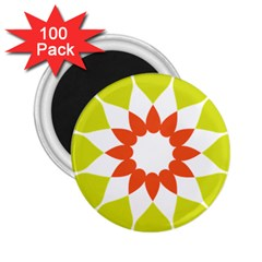 Tikiwiki Abstract Element Flower Star Red Green 2 25  Magnets (100 Pack)