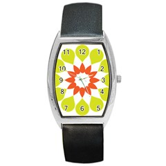 Tikiwiki Abstract Element Flower Star Red Green Barrel Style Metal Watch by Alisyart