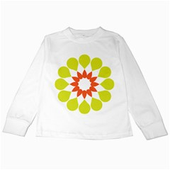 Tikiwiki Abstract Element Flower Star Red Green Kids Long Sleeve T Shirts