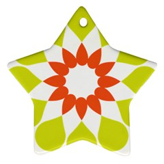 Tikiwiki Abstract Element Flower Star Red Green Star Ornament (two Sides) by Alisyart
