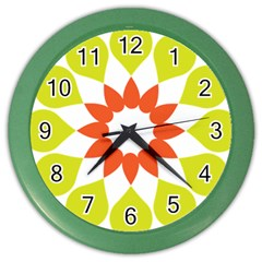 Tikiwiki Abstract Element Flower Star Red Green Color Wall Clocks by Alisyart