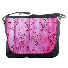 Pink Curtains Background Messenger Bags by Simbadda
