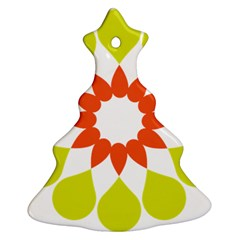 Tikiwiki Abstract Element Flower Star Red Green Christmas Tree Ornament (two Sides) by Alisyart