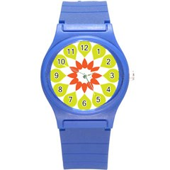 Tikiwiki Abstract Element Flower Star Red Green Round Plastic Sport Watch (s)