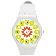 Tikiwiki Abstract Element Flower Star Red Green Round Plastic Sport Watch (m) by Alisyart