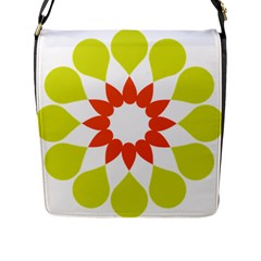 Tikiwiki Abstract Element Flower Star Red Green Flap Messenger Bag (l)  by Alisyart