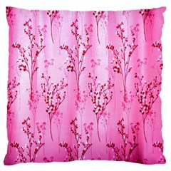 Pink Curtains Background Large Flano Cushion Case (one Side) by Simbadda