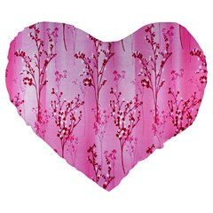 Pink Curtains Background Large 19  Premium Flano Heart Shape Cushions by Simbadda