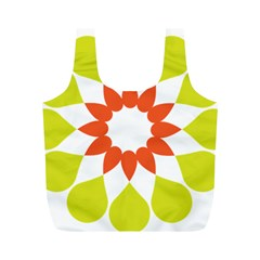 Tikiwiki Abstract Element Flower Star Red Green Full Print Recycle Bags (m)