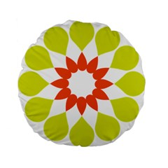Tikiwiki Abstract Element Flower Star Red Green Standard 15  Premium Flano Round Cushions