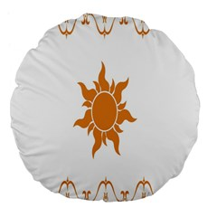 Sunlight Sun Orange Large 18  Premium Flano Round Cushions