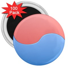 Taekwondo Sign Red Blue 3  Magnets (100 Pack)