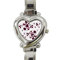 Floral Pattern Heart Italian Charm Watch by Simbadda