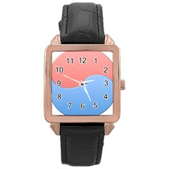 Taekwondo Sign Red Blue Rose Gold Leather Watch  by Alisyart
