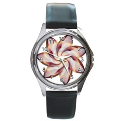 Prismatic Flower Line Gold Star Floral Round Metal Watch