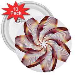 Prismatic Flower Line Gold Star Floral 3  Buttons (10 Pack)