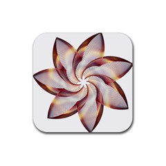 Prismatic Flower Line Gold Star Floral Rubber Square Coaster (4 Pack)  by Alisyart