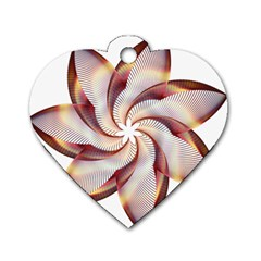 Prismatic Flower Line Gold Star Floral Dog Tag Heart (one Side)