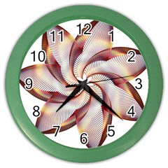 Prismatic Flower Line Gold Star Floral Color Wall Clocks by Alisyart