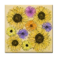 Multi Flower Line Drawing Tile Coasters