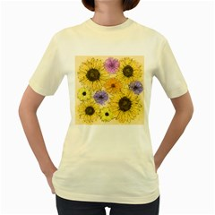Multi Flower Line Drawing Women s Yellow T Shirt