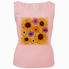 Multi Flower Line Drawing Women s Pink Tank Top