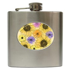 Multi Flower Line Drawing Hip Flask (6 Oz) by Simbadda