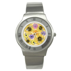 Multi Flower Line Drawing Stainless Steel Watch by Simbadda
