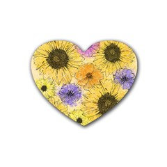 Multi Flower Line Drawing Rubber Coaster (heart)  by Simbadda