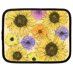Multi Flower Line Drawing Netbook Case (large) by Simbadda
