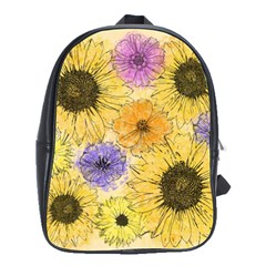 Multi Flower Line Drawing School Bags(large)
