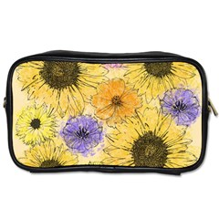 Multi Flower Line Drawing Toiletries Bags 2 Side by Simbadda