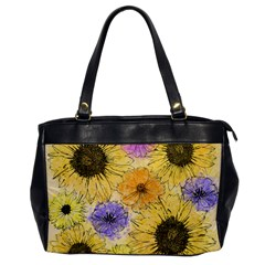 Multi Flower Line Drawing Office Handbags