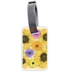 Multi Flower Line Drawing Luggage Tags (two Sides) by Simbadda