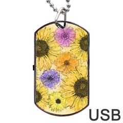 Multi Flower Line Drawing Dog Tag Usb Flash (two Sides) by Simbadda