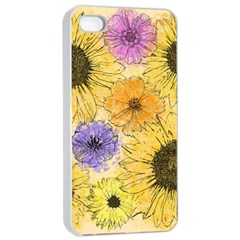 Multi Flower Line Drawing Apple Iphone 4/4s Seamless Case (white) by Simbadda