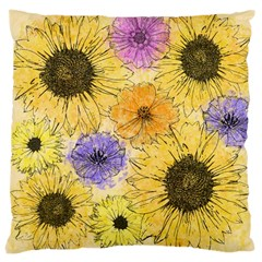 Multi Flower Line Drawing Large Cushion Case (two Sides)