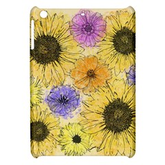 Multi Flower Line Drawing Apple Ipad Mini Hardshell Case by Simbadda
