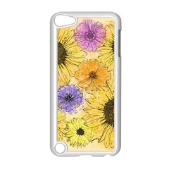 Multi Flower Line Drawing Apple Ipod Touch 5 Case (white) by Simbadda
