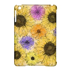 Multi Flower Line Drawing Apple Ipad Mini Hardshell Case (compatible With Smart Cover) by Simbadda