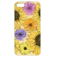 Multi Flower Line Drawing Apple Iphone 5 Hardshell Case With Stand by Simbadda